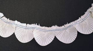 Passementerie for a collar. Fan pleated grosgrain ribbon half-rounds stitched together with blue thread form a collar. 1930s.