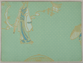 Chinoiserie design. One female figure carries a closed parasol, standing in front of a building, parts of two more parasols along right edge and bottom. Printed in medium green and white on light green polka-dot ground