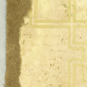 Geometric format, with Greek key-like motif. Printed in very pale yellow-green on off-white ground.