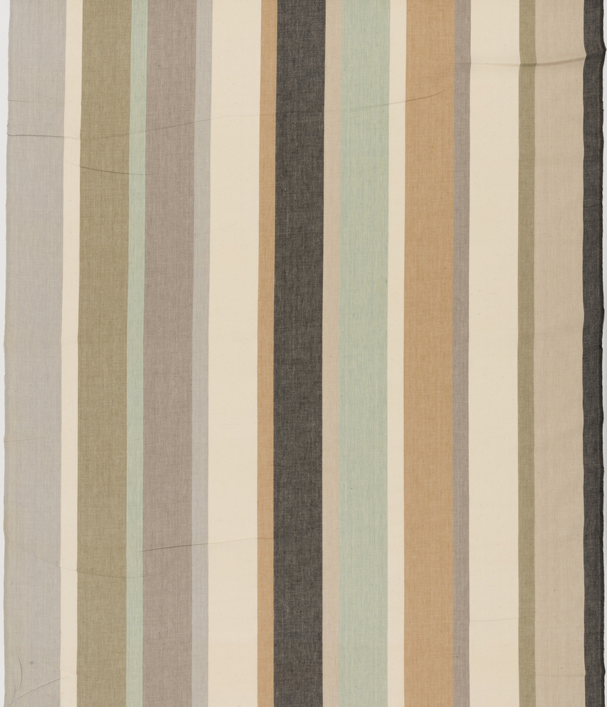 Length of woven cotton with vertical stripes of varied widths,  in neutral shades of black, brown, grays, tans, and light green.