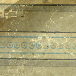 Imitation of stones laid in bond. Ashlar block or brick pattern. Printed in gray, white, black and turquoise.