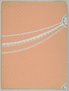 A swag containing three strands of cable molding, wider strand in middle, suspended from a round boss. Printed in blue and white on pale orange polka-dot ground.