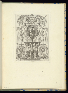 Plate 4 of a series of 6 numbered plates. Symmetrically-designed panel with grotesques. At lower center, two grotesque putti figures with swirling cartouche tails support a platter upon which stands a decorated vase with a mask at center. On either side of the vase, large swan-like birds emit water in streams from their beaks. Above, two putti hold onto branches contained within the vase. Ornamental decorations include festoons of flowers and female figures with a string of fish.