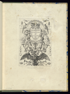 Title plate of a series of six numbered plates. Symmetrically-designed panel with grotesques, including two horn-blowing children standing on an eagle at lower center. Ornamental decoration includes birds, garlands, and flowers.