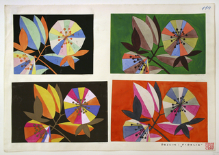 Graphic, stylized multicolored blossoms and leaves on a thin orange branch on black ground. Numbers throughout in graphite.
