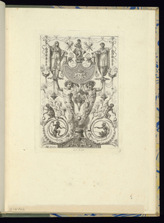 Plate 3 of a series of 6 numbered plates. Symmetrically-designed panel with grotesques. At center, two humanoid figures support with their outstretched hands a platter upon which a woman stands at left and a man stands at right. At lower left and right, two monkeys occupy circular cartouches; another pair of monkeys stands above the forms. Ornamental decorations include festoons of flowers, lamps, and borders.