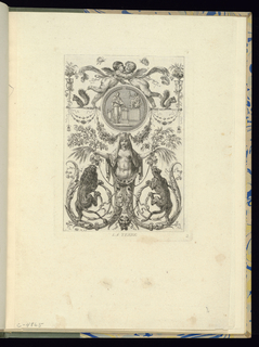 Plate 2 of a series of 6 numbered plates. Symmetrically-designed panel with grotesques. At lower center, a mask, with ribbons at its eyes connecting it to the body of a herm at center; the figure's tail forms two cartouches, upon which hang a leopard and lion. Circular medallion at upper center, above which two putti kiss. Ornamental decorations include festoons of flowers.