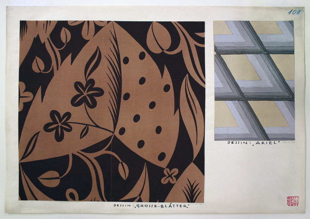 Abstract floral motif in brown and black.