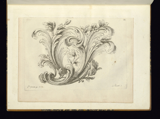 Rocaille vegetal ornament design.