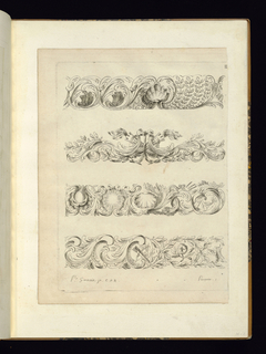 Rocaille design for four ornamental friezes.