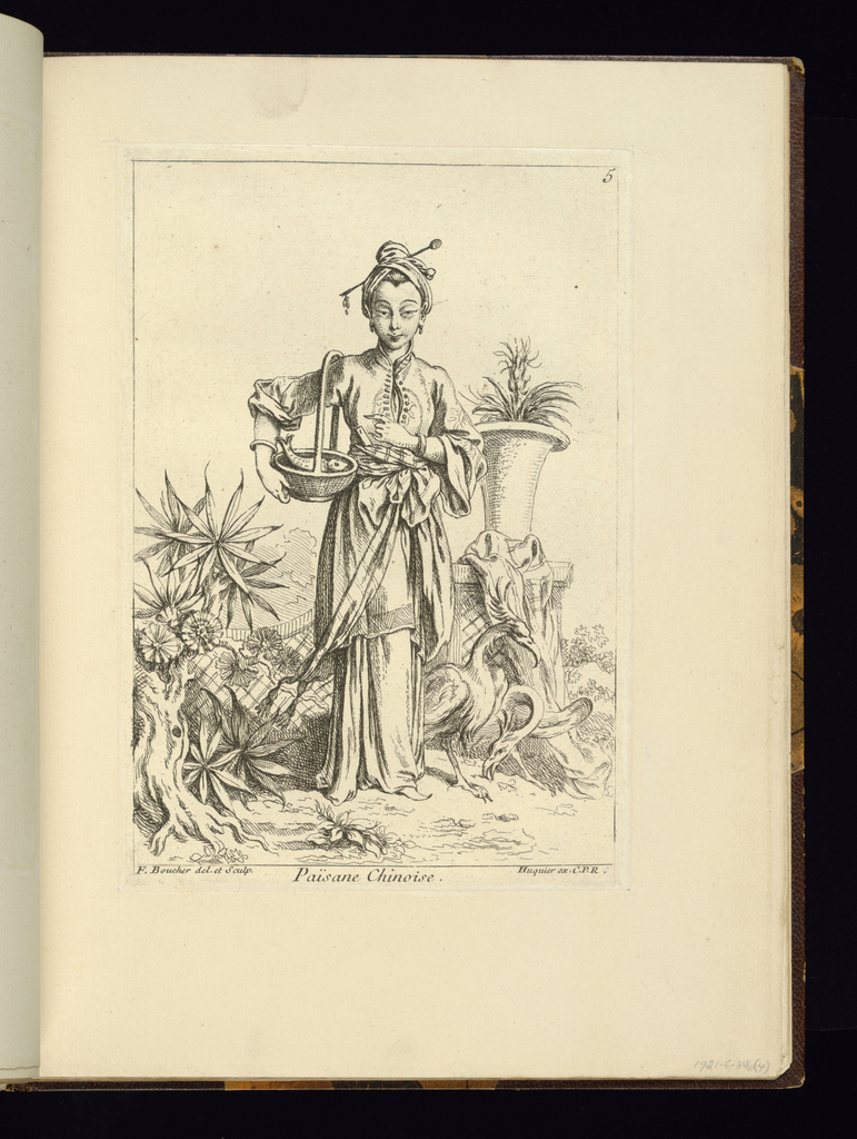 Plate no. 4 in a set of 12.  From work called Recueil/de diverses Figures/Chinoise.