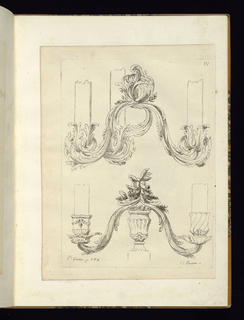 Rocaille designs for two ornaments, possibly candle holders.