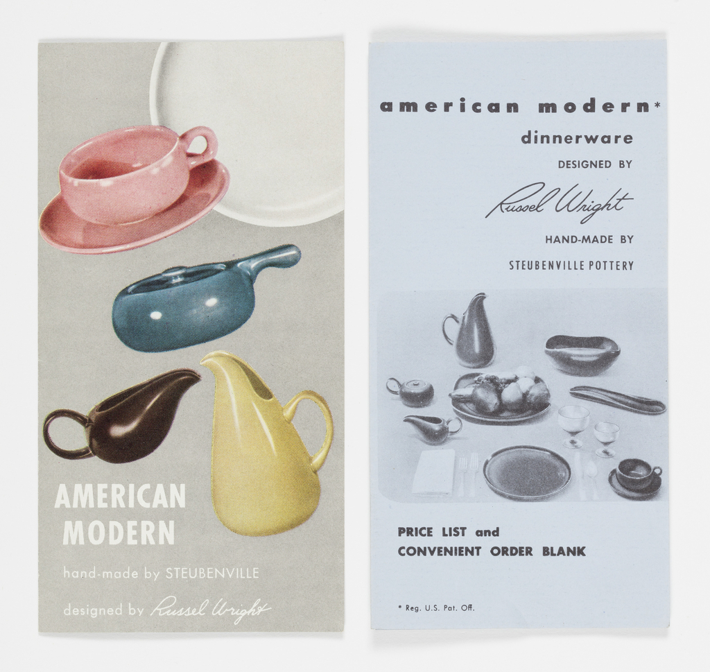 Brochure for American Modern ceramic tableware.Grey cover with images of white plate coral-colored coffee cup and saucer, blue covered dish, brown gravy boat and light green pitcher.