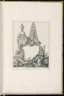 Cartouche design with trophies, a statue and a pyramid