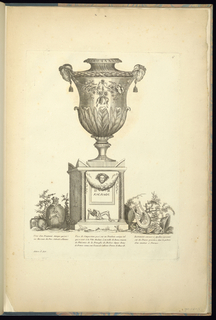 At center is a large vase upon a pedestal flanked by an urn on the left and a harp and three legged bowl on the right