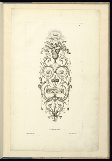 Arabesque design with an urn surmounted with a female face, above which there is a crown of halos