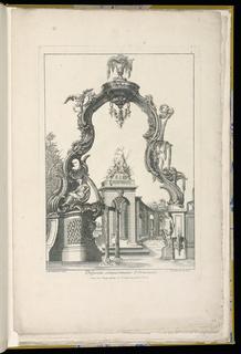 Print, Cartouche and Fountain