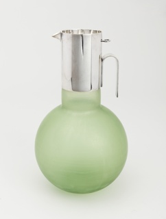 Globular, translucent green body with cylindrical neck fitted with silver-plated sleave with inverted U-shaped handle and short spout.
