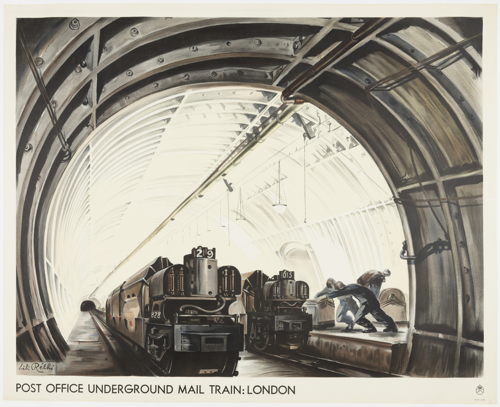 Horizontal rectangle showing a perspective view inside an underground tunnel with two mail trains in the foreground and figures loading mail.