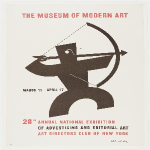 On a cream ground, a black abstracted figure of a man facing right, drawing a bow and arrow. Text is in red and black.