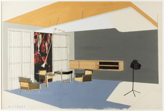 Horizontal rectangle with an interior view of a room. At left, a red and black tapestry between two windows and a group of patterned armchairs. At right, a floating console and a camera on a stand. A white dropped ceiling hangs below a yellow roof. A blue floor below.