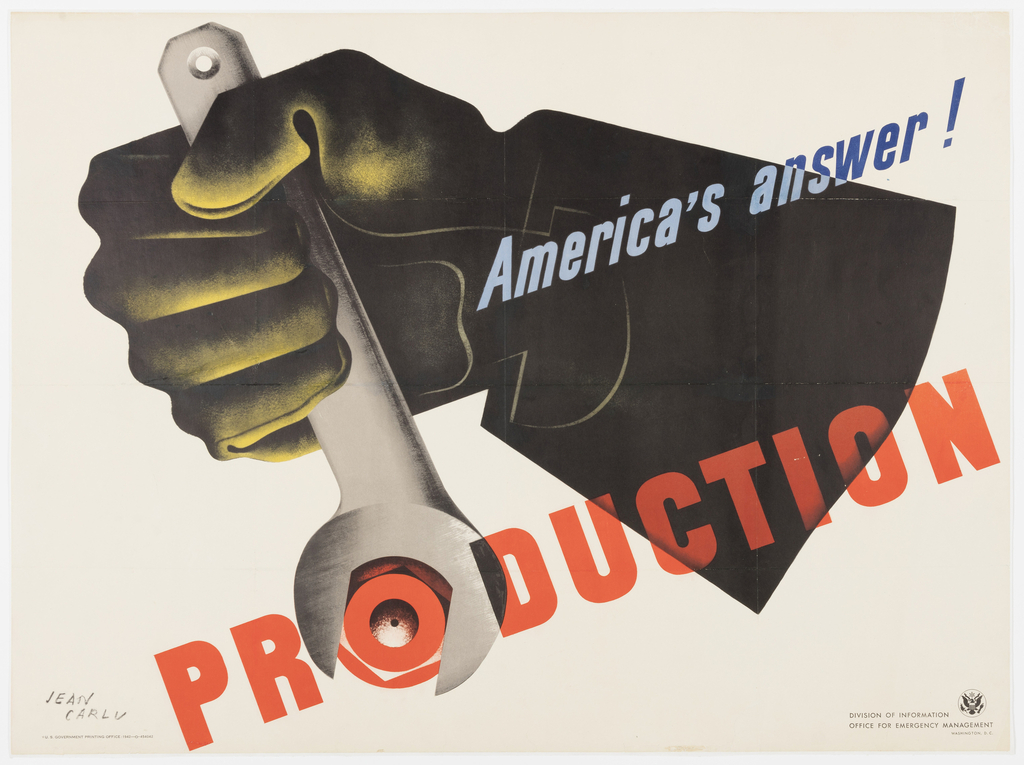 "Horizontal rectangle showing a gloved hand with a wrench gripping the letter ""o"" in the word ""production."" In diagonal blue letters: America's answer!"