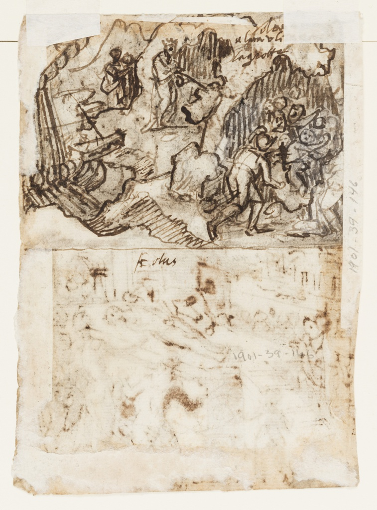 Vertical rectangle.  Recto, top: Scene in cave of Cyclops, the giant in the foreground lying on his side, his head supported by his left hand.  A group of men are blinding his single eye with a spear.  Flock of Cyclops in background; below: A group of figures stand around a stone platform on which lies a man who is being eaten by an animal.  Verso, Figures in a grotto, at right.  Prow of ship at left.  Other figures on incline, left.