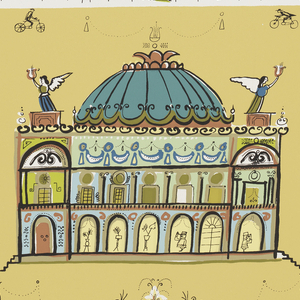Large scale Paris Opera House in white, with angels bearing harps flying overhead. Printed in colors on ochre ground.
