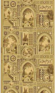 Anglo-Japanesque design composed of fountain, lake, pond, and waterfall scenes and depicting various types of architecture, i.e. Russian church, French chateau, Indian gazebo, Turkish mosque. Landscapes with tropical vegetation set in various rectangles, circles, and arches. Each space delineated in geometric framework. Printed in maroon, peach, olive, yellow and brown on olive ground.
