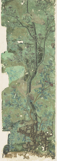 Panel of Chinese painted wallpaper, flowering trees and white parrot-like birds on green.