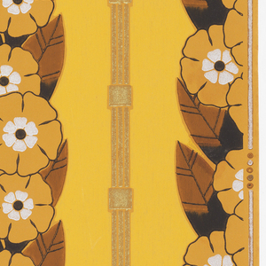 Columns or stripes created by a width of bands of stylized floral and foliage motifs alternating with a narrow, more architectural molding composed of 3 stripes and a square boss. Printed in shades of ocher, brown, black, metallic silver and gold on a lighter yellow ground.