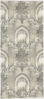 Full width of paper with a single drop-repeating motif of three bays of a late Gothic building with vaulting and portions of cresting. Landscape scene with foliage and flowers seen through window. Printed in grisaille on a white satin ground.