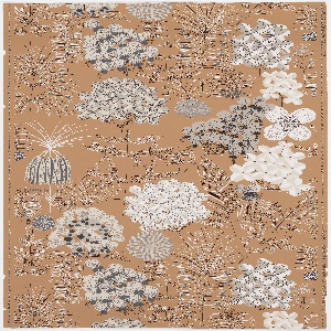On light brown ground, abstract floral pattern in modern style. Printed in shades of black, white and gray on terra-cotta ground.