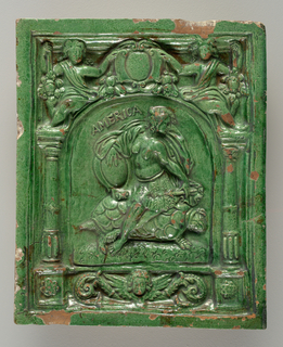 Under an arch supported by columns is a female figure in feather skirt, holding shield and arrow, seated on a tortoise; crested with shield and two figures.