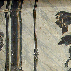 All four scenes have figures and ornaments cut and pasted onto marbled background. 1-4) One adult male and one adult female figure supporting basket containing young child. Bunches of grapes forming columns down sides, with delicate draped ribbons across top center. Printed on marbled ground.