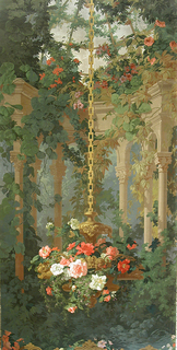Semi-circular free standing arcade at back surmounted by a trellis roof. Suspended from a gold chain in foreground, a hanging vase filled with very large roses and other flowers. Sepia architectural dado with acanthus enrichment, at bottom. This is one of the two pictures that go to make up the scenic.