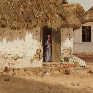 A study of two houses with thatched roofs and painted white exterior walls. A woman stands in the doorway of the house at center, gazing into the dirt road in the foreground. A fence constructed of saplings is at left, adjoining the house.