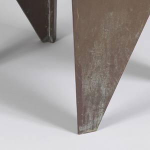 Copper-surfaced form consisting of triangular top on two angled, panel-form legs.