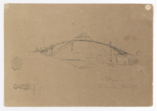 A detailed study of a bamboo bridge is shown in the center of the sheet. The bridge is arched above a stream and supported by struts which are joined at the center above the walkway. A figure of a man is shown walking at right.  An additional sketch, of a girl seen from the back, is placed vertically at lower left.
