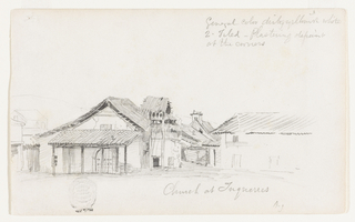 Recto:  Horizontal view of the church, shown slightly obliquely from the front, with a projecting portico and three bells hanging in the steeple.  House at sides and in the rear.  Verso: Horizontal view looking toward a mountain range in the rear.