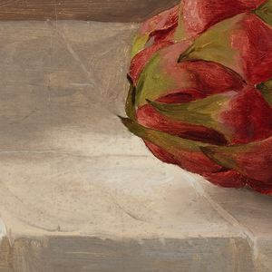 Horizontal view containing one entire fruit and slices of another lying upon a stone sill while the top, bottom, right margins  show the creamy grounding color.