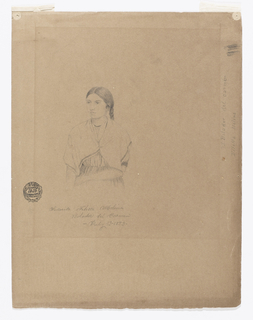 Vertical view of half figure of a standing girl, drawn in the left center of sheet with a part of one plait of hair shown.