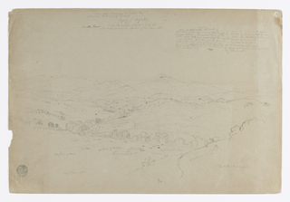 Recto:  Horizontal view of a valley of a plateau with the volcano seen at right center of background mountains, and small scattered houses at left, center and right middleground.