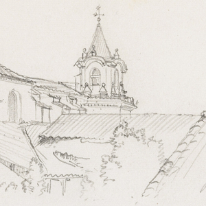 Horizontal rectangle showing the dome, steeple and walls of the cathedral seen from the apsidal end, across a garden and house roofs.