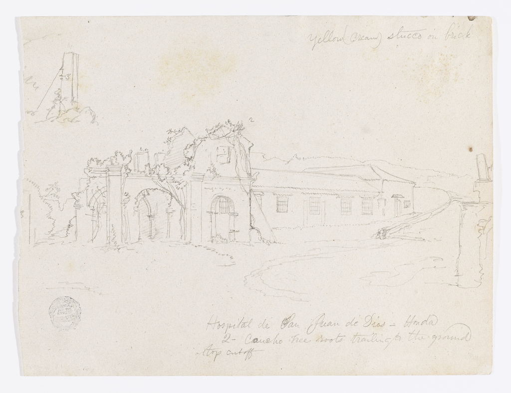 Recto:  Horizontal view of a one story windowed building with the ruins of a church               attached to its left side among hills and parts of other ruins visible in the                   right foreground and left background. 