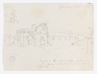 Recto:  Horizontal view of a one story windowed building with the ruins of a church               attached to its left side among hills and parts of other ruins visible in the                   right foreground and left background.   Verso:  Horizontal mountainous landscape sketch.