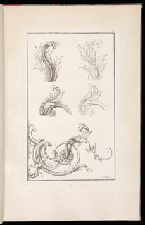 Five ornament designs related to acanthus scrolls
