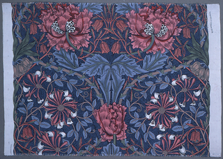 Large rose colored flowers on ground of blue foliage. Polychrome.
