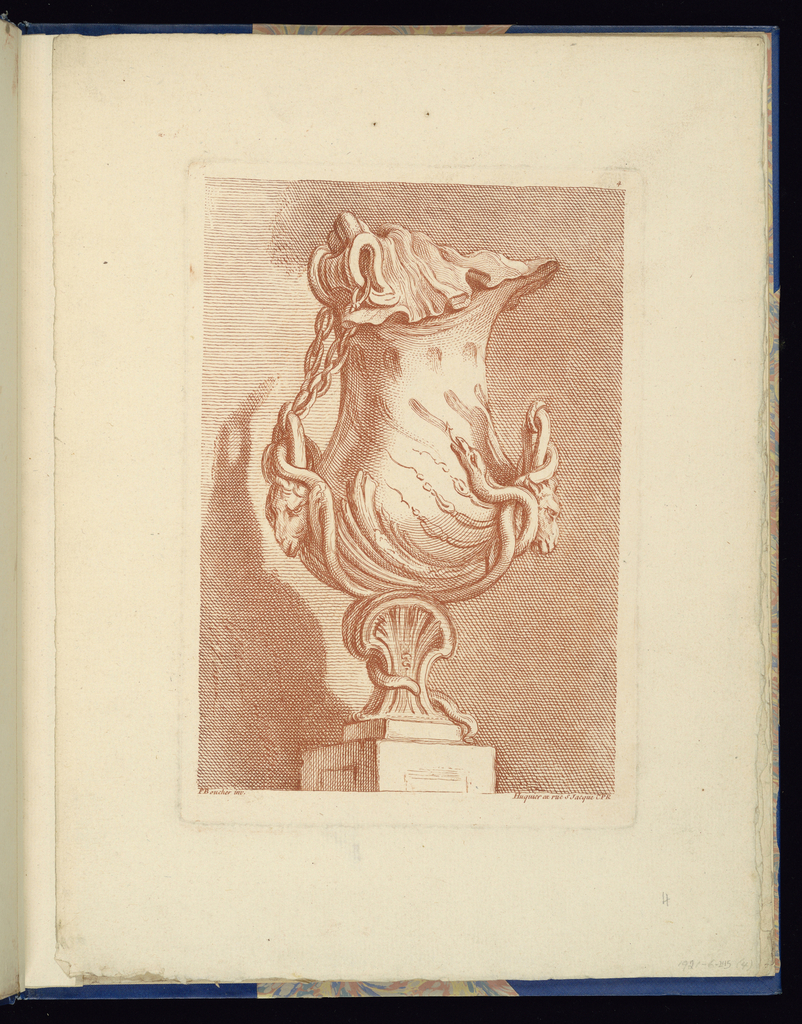Folio 4, plate 4 of a series of 12. Design for a vase to be executed in metal with curving forms, placed on a pedestal. A shell-shaped lid is attached to the left handle by a chain, the handles composed of two rams' heads decorated with snakes.