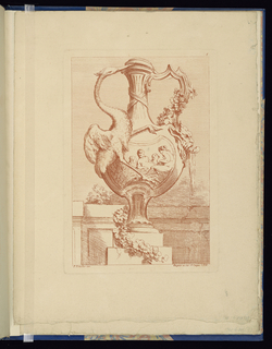 Folio 8, plate 8 of a series of 12. Design for a vase to be executed in metal, placed on a pedestal. On the body, a scene of four nude women. The handle at left is composed of a feathered bird stretched across the body of the vase, its neck forming the handle curve and its beak prying open the lid at top. The right handle a sharper geometric form resting upon a mask. Leafy garland draped from the right handle to the pedestal. Garden wall indicated in background.